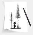 little boy in forest at night vector image