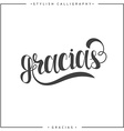 Thank you Phrase in Spanish handmade Gracias vector image