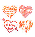 colorful grunge hearts stamp collection vector image
