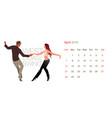 2019 dance calendar april young couple dancing vector image