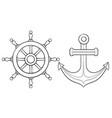anchor and steering wheel hand drawn sketch vector image vector image