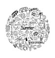background in circle with summer set of isolated vector image vector image