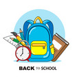backpack and school objects vector image vector image