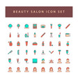 beauty salon icons set with filled outline style