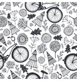 bicycle seamless pattern with trees vector image vector image
