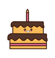 big birthday cake cute kawaii cartoon vector image