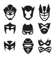 black silhouette of superheroes masks vector image