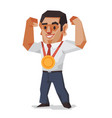 businessman win the gold medal business concept vector image