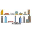 canada vancouver flat landmarks vector image vector image