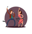 cartoon character male singer and female pianist vector image
