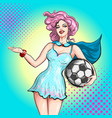 cheerleader pop art comic style beautiful girl vector image