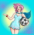 cheerleader pop art comic style beautiful girl vector image vector image