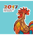 Chinese new year card with colorful rooster vector image vector image