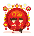 Chinese New Year Label Boy and Girl vector image vector image