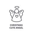 christmas cute angel line icon outline sign vector image vector image