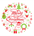 christmas round label vector image vector image
