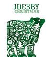 christmas watercolor folk vintage bear card vector image vector image