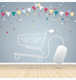 computer mouse cart online shopping concept vector image vector image