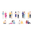 couple back view couples hugging standing and vector image