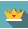 Crown with star icon flat style vector image vector image