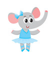 cute little elephant character ballet dancer in vector image