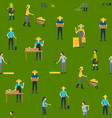 farmers work 3d seamless pattern background vector image vector image