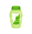 flat icon of green shampoo bottle with torn vector image vector image