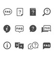 frequently asked questions black glyph icons vector image