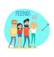 friends day two boys and two girls makes selfie vector image vector image