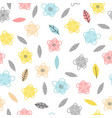 hand drawn seamless pattern with flowers and vector image vector image