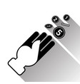 hand throwing up coins silhouette black icon with vector image