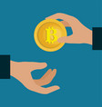 hands with bitcoin money vector image