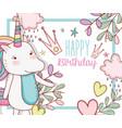 happy birthday with cute unicorn decoration vector image vector image