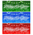 happy new year neon banners set vector image vector image