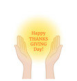 happy thanksgiving day with prayer hands vector image