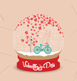 happy valentines day with romantic dandelion heart vector image vector image