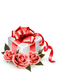 Holiday background with pink roses and gift box vector image vector image
