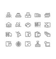 line package delivery icons vector image vector image
