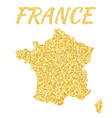 map of france in golden with gold yellow vector image