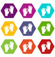 medical gloves icon set color hexahedron vector image vector image