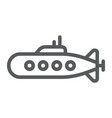 military submarine line icon marine and military vector image vector image