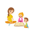 mom reading a book to her son and daughter family vector image