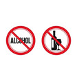 no alcohol sign red prohibition signs image vector image vector image