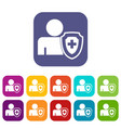 person and medical cross protection shield icons vector image