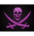 pink sequin skull Jolly Roger Eps 10 vector image