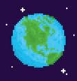 pixel art retro arcade game planet earth vector image vector image