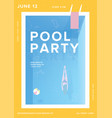pool party vertical poster open-air summer event vector image vector image