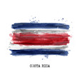 realistic watercolor painting flag costa rica vector image vector image
