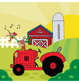 Rooster Crowing On A Tractor Near A Barn vector image