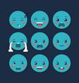 set emoticons kawaii characters vector image vector image